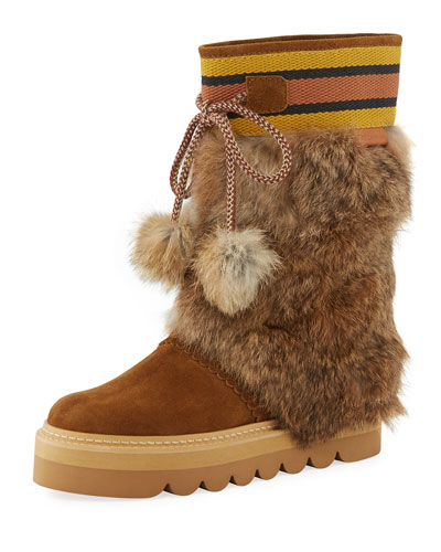 Striped-Cuff Fur-Trim Boot