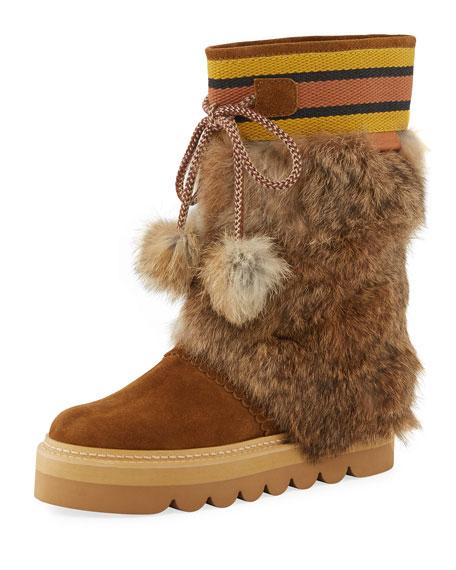 Striped-Cuff Fur-Trim Boot