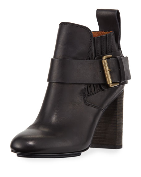 Leather Block-Heel Ankle Boot
