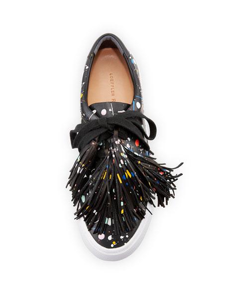 Logan Splatter-Print Tassel Sneaker