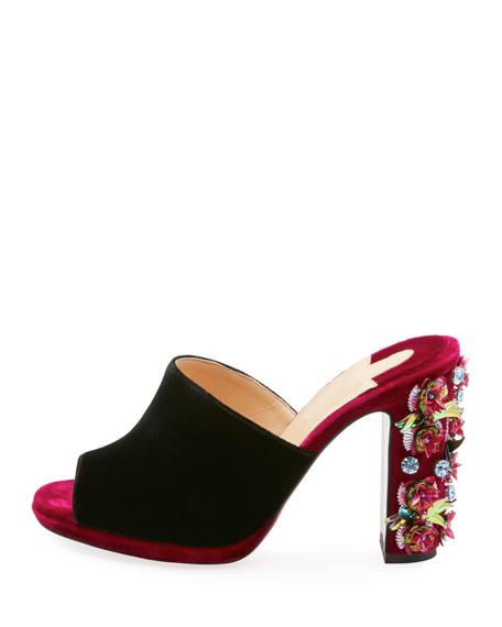 Donaflor Velvet Platform Red Sole Slide Sandal