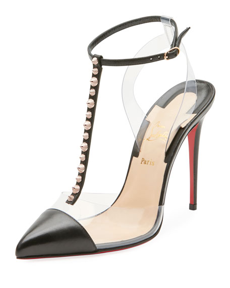 cf11f76b6652 Christian Louboutin Nosy Spiked T-Strap Red Sole Pump