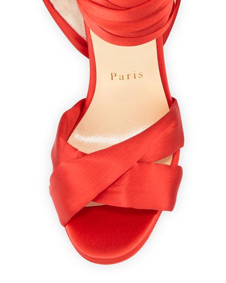 Tres Frais Satin Red Sole Sandal