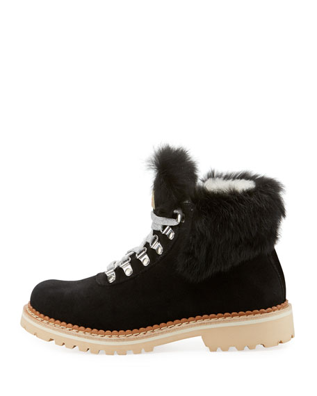 Sequoia Fur-Trim Suede Hiker Boot