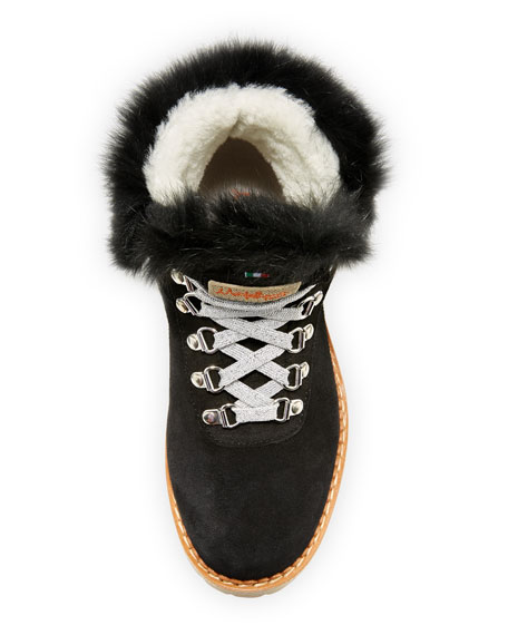 Sequoia Fur-Trim Suede Hiker Boot