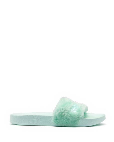 Faux-Fur Pool Slide Sandal, Light Green