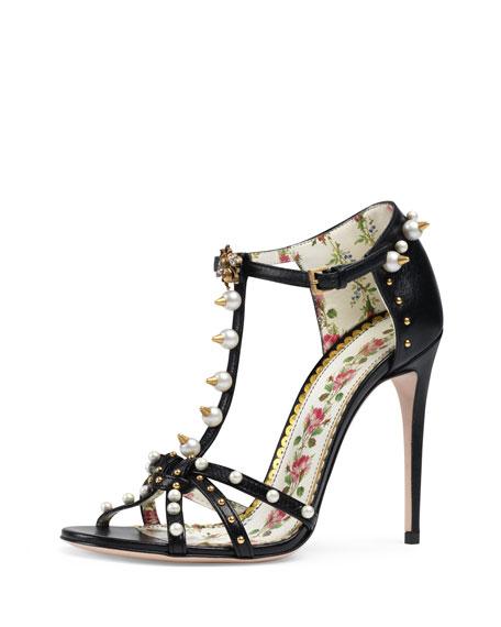 Regina Studded Leather T-Strap Sandal