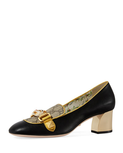 Cheryl Leather GG Pump with Tiger Bit, Black
