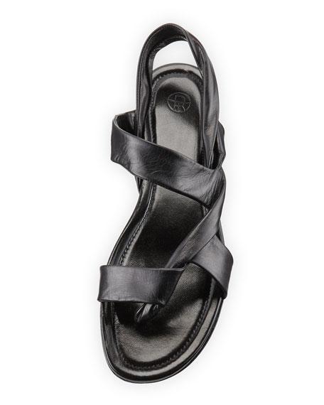 Giada Leather Twisted Flat Sandal