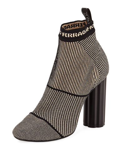 Logo Stretch Fabric Ankle Boot