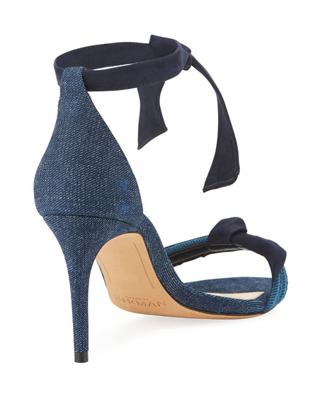 Clarita 75mm Knotted Denim Two-Band Sandal