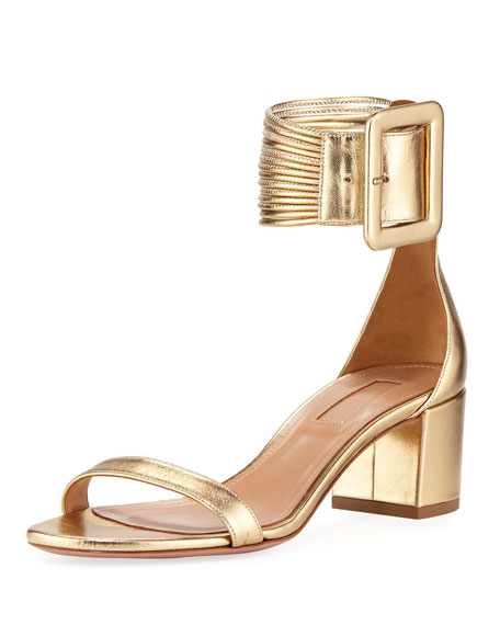 96e1d8081 Aquazzura Casa Blanca Metallic Ankle-Cuff Sandal