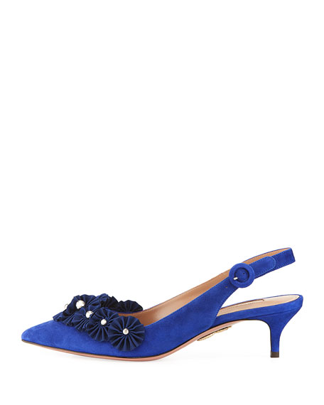 Exotic Sling Ribbon-Studded Suede Slingback Pump