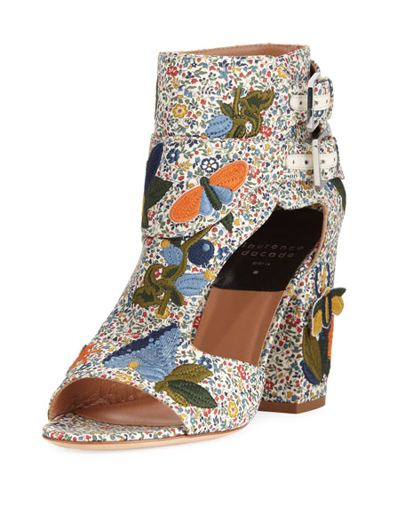 LAURENCE DACADE Rush Bagatelle Embroidered Sandals in Multi Pattern