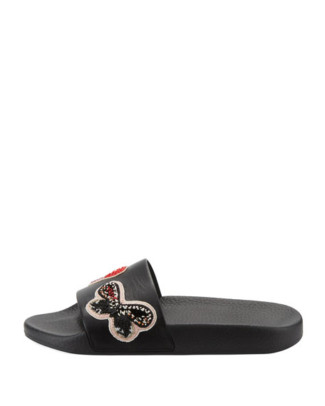 Beaded Butterfly Pool Slide Sandal