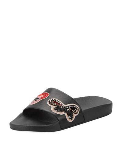 Beaded Butterfly Pool Slide Sandal