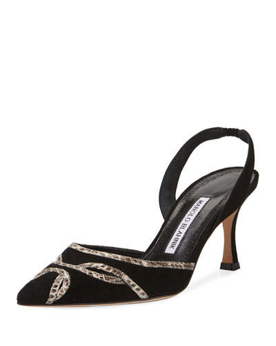 Poncha Suede and Snakeskin Halter Pump