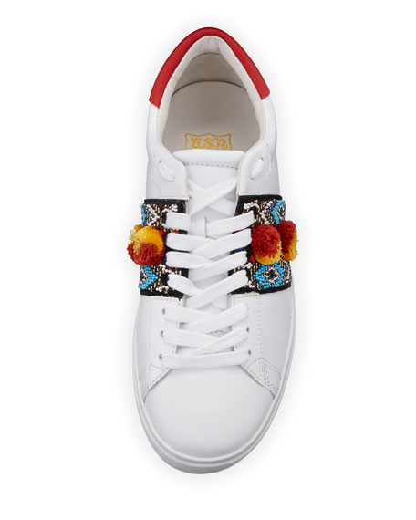 Embroidered Leather Platform Sneaker