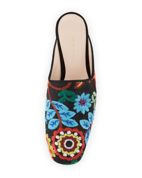Pipe Mulearky Flat Embroidered Mule