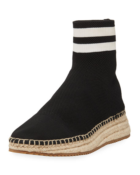 Dylan Black And White Knit High Top Sneakers W/Jute Sole