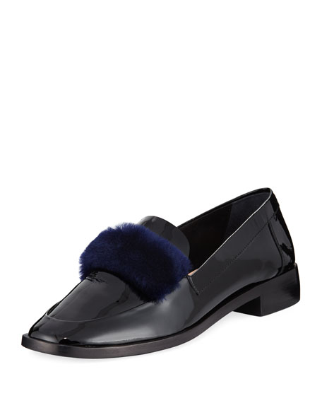 Greta Fur-Trim Patent Loafer, Black
