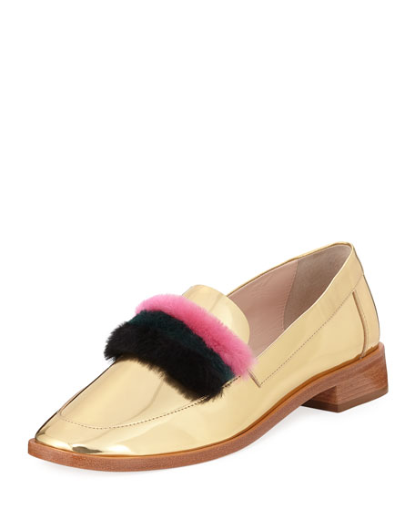 Greta Fur-Trim Metallic Loafer in Gold