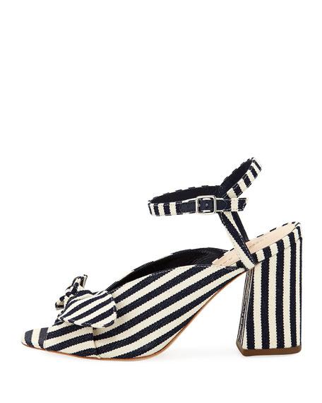 Leigh Striped Canvas Block-Heel Sandal