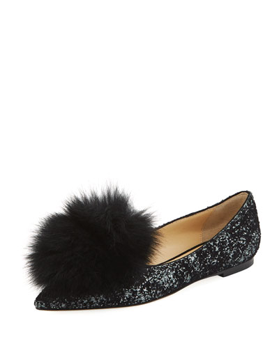 Gale Fur-Trim Glitter Flat