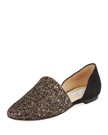 7b92924a33c4 Jimmy Choo Glitter And Suede Globe Flats Sandals In Black