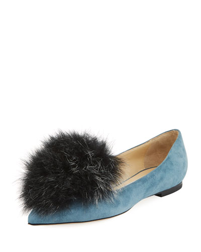 Gale Fur-Trim Suede Flat