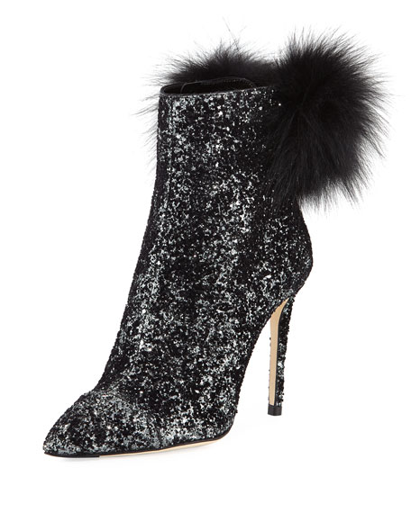 Tesler Glittered Fur-Trim Boot