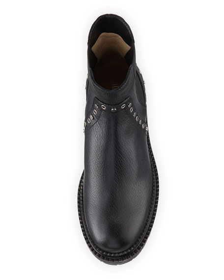 Burrow Leather Grommet Moto Boot