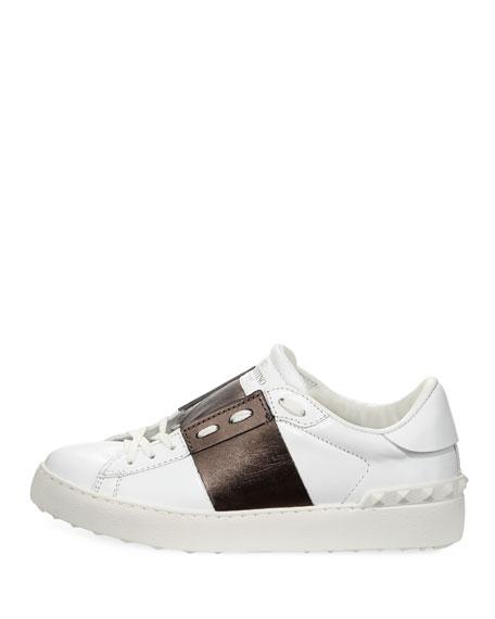 Leather Low-Top Metallic Colorblock Sneakers