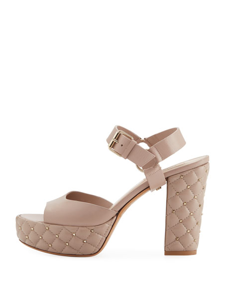 Quilted Leather Platform Rockstud Sandal