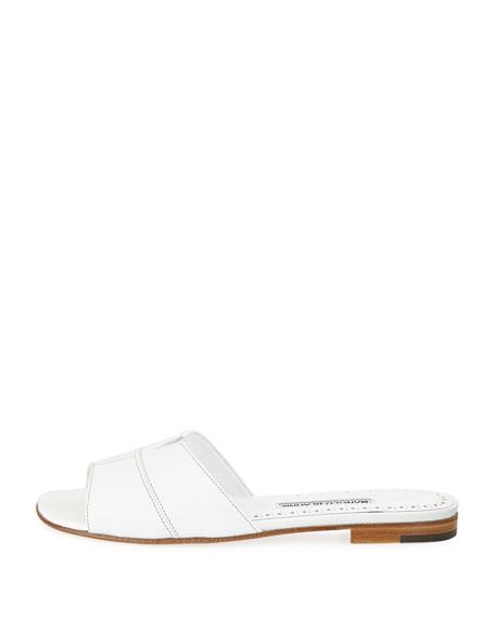 Lasatte Notched Flat Leather Slide Sandal
