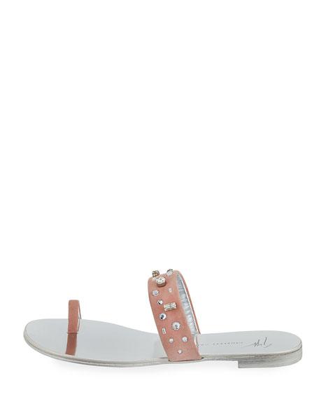 Crystal-Embellished Suede Toe-Ring Sandal