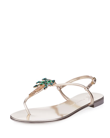 Giuseppe Zanotti Mirrored silver flat sandal with crystal palm VENICE BEACH qplWCt4A