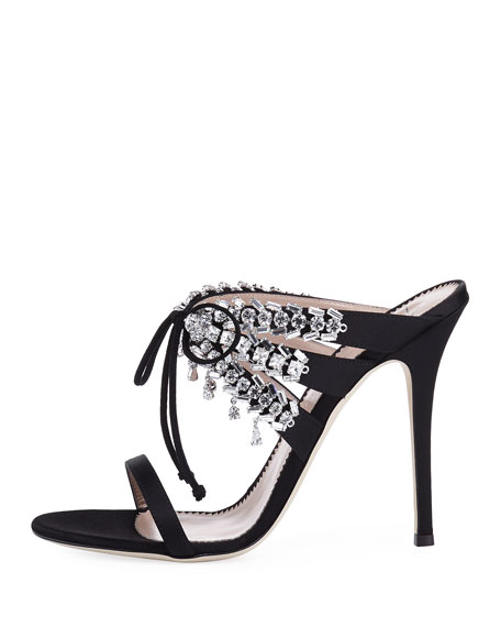 Strappy Lace-Up Silk Slide Sandal with Crystals