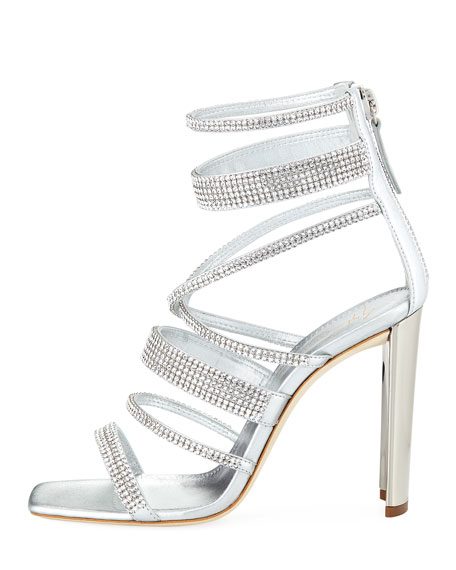 Crystal-Caged Metallic Leather Sandal