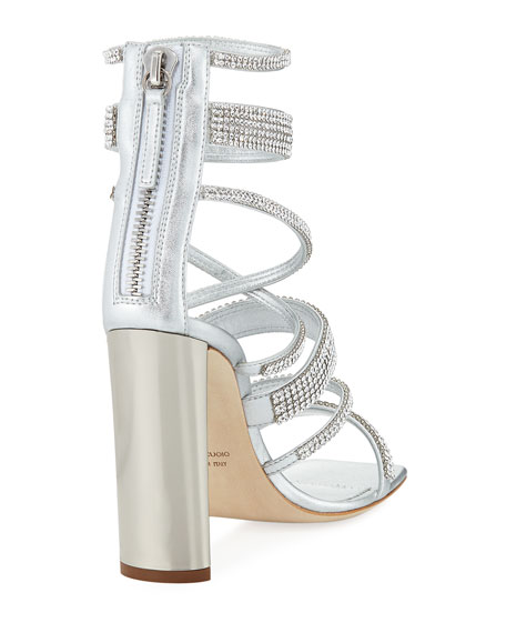 Crystal-Caged Metallic Leather Sandal
