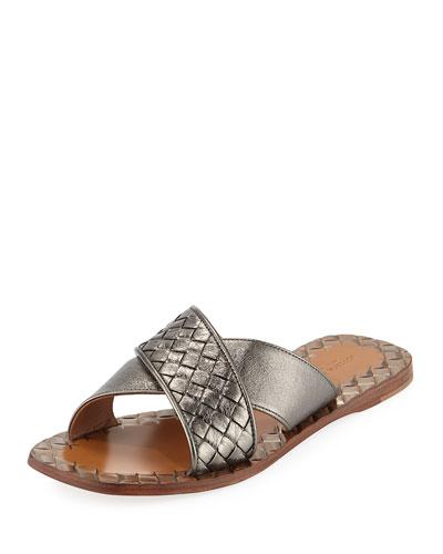 Metallic Intrecciato Crisscross Flat Slide Sandal