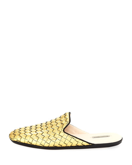 Intrecciato Metallic Leather Mule
