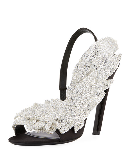 935489aef1c8 Balenciaga Crystal-Embellished Satin Pumps