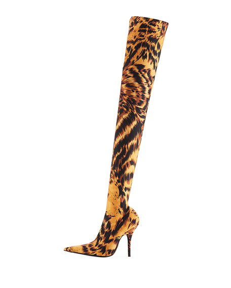 Stretch Leopard-Print Over-the-Knee Boot