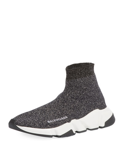 Metallic Knit High-Top Sock Sneaker