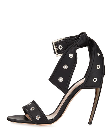 Studded Leather Ankle-Tie Sandal