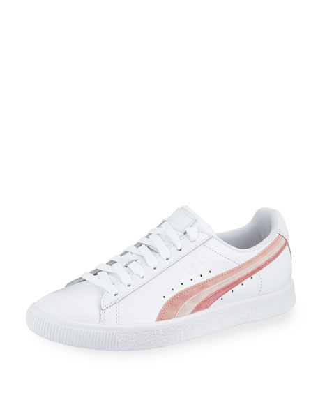 new styles d7b7a 1b8ee Women'S Clyde Leather Lace Up Sneakers in White/Pink