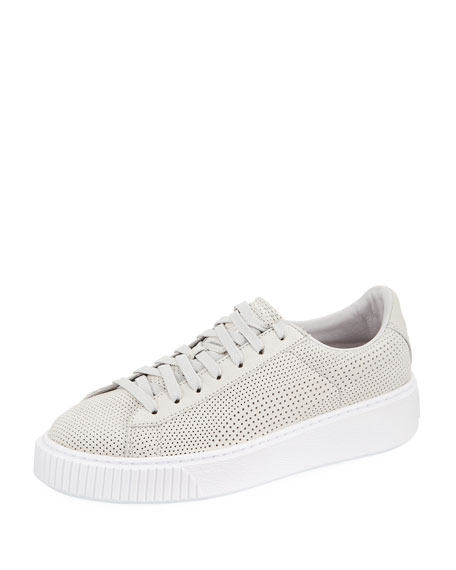 WOMEN'S BASKET PERFORATED NUBUCK LEATHER LACE UP PLATFORM SNEAKERS
