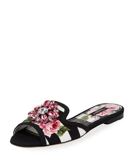 Dolce & Gabanna Open Toe Sliders, Black/White