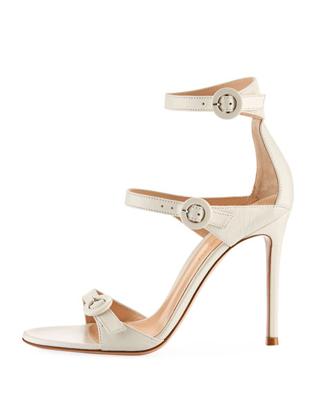 105mm Three-Strap Leather Buckle Sandal